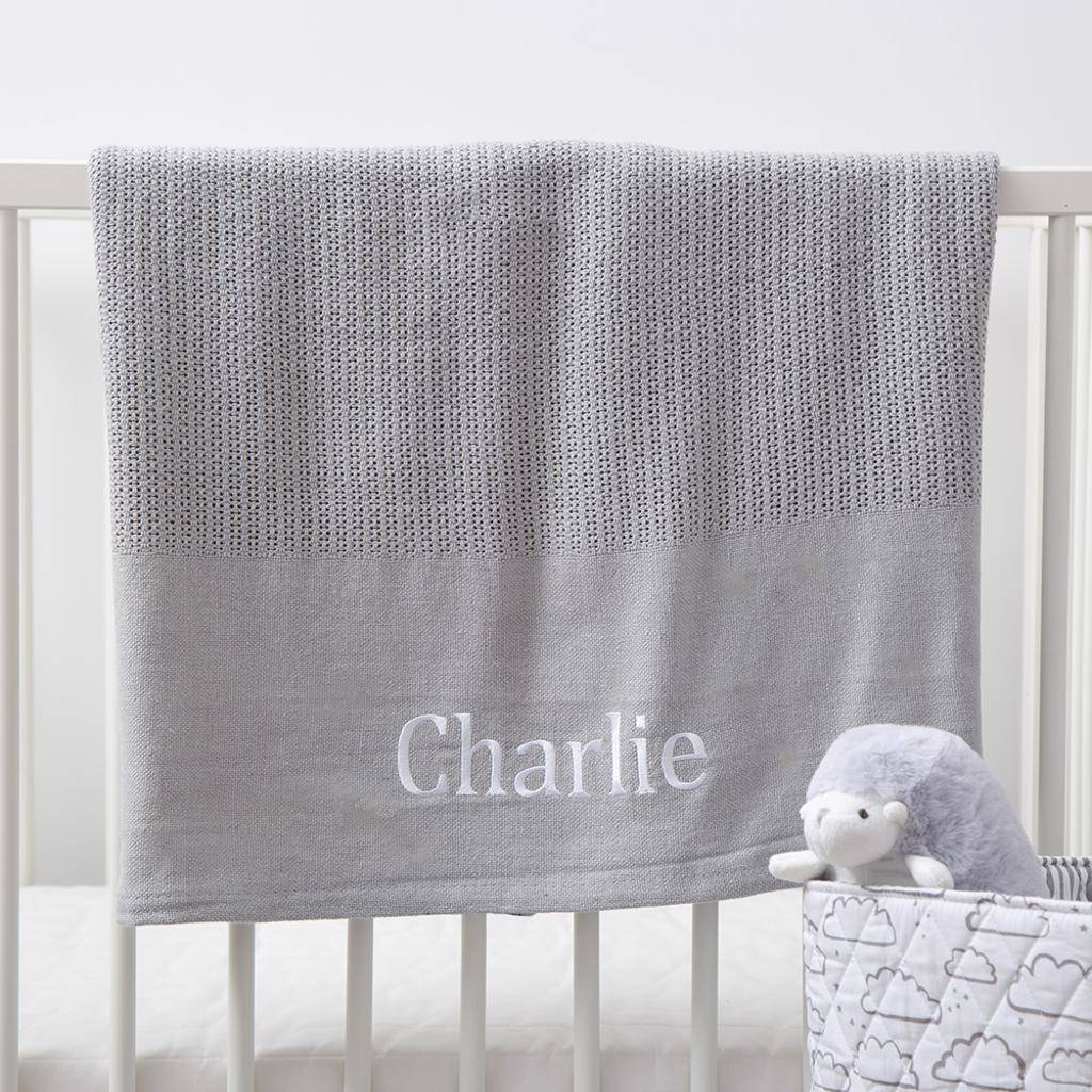 Cellular Cot Blankets Personalised Grey Cot Sized Cellular Blanket