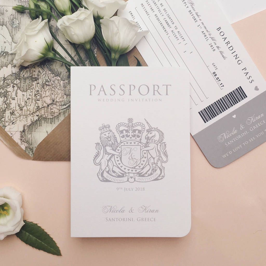 Diy Wedding Invitations With Photo 39around The World 39 Passport Wedding Invitation By Ditsy