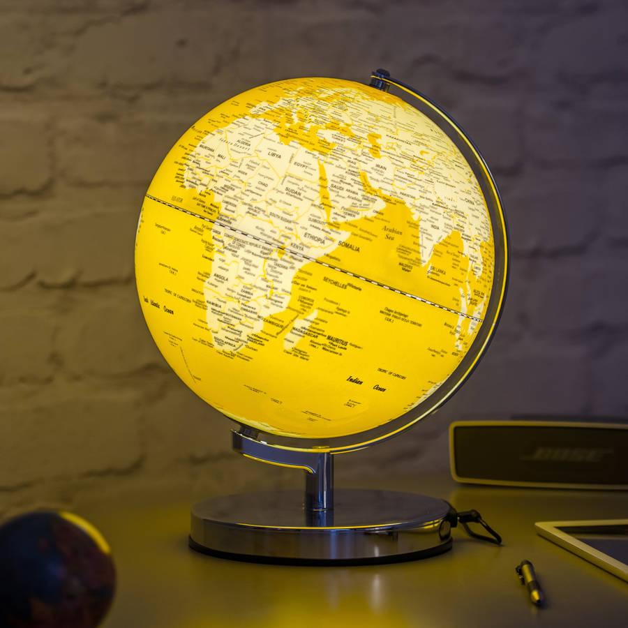 illuminated led globe light in english mustard by