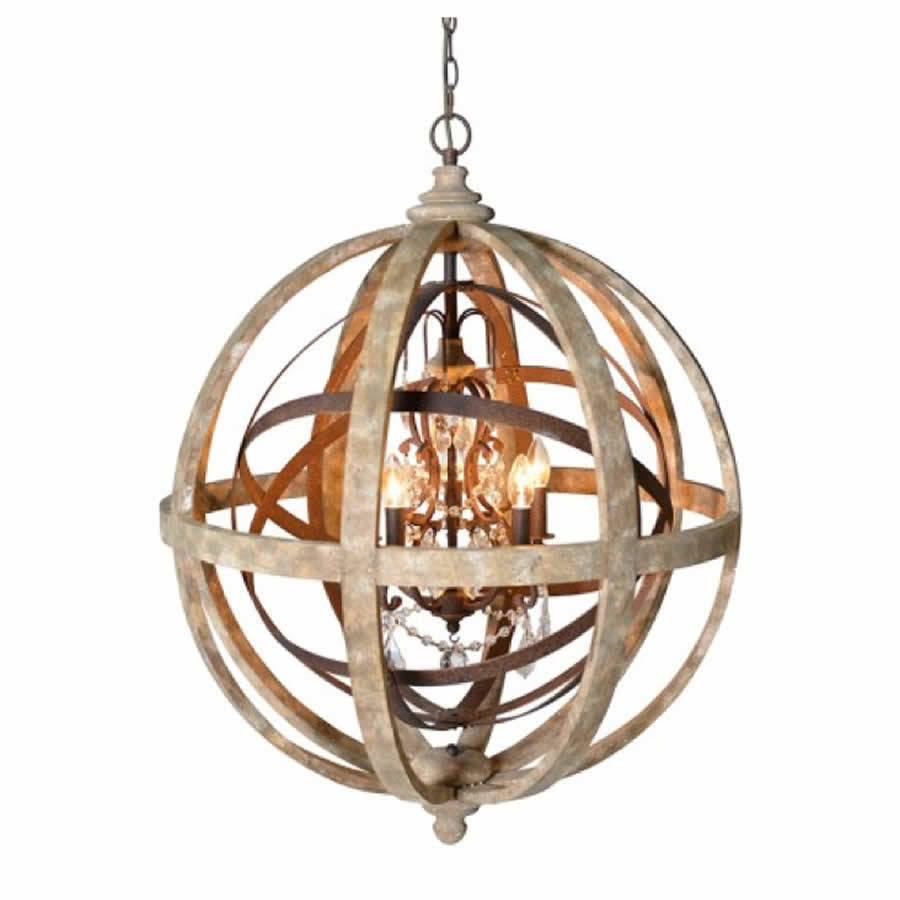Orb Chandelier Wooden Orb Chandelier Metal Orb Detail And Crystal By