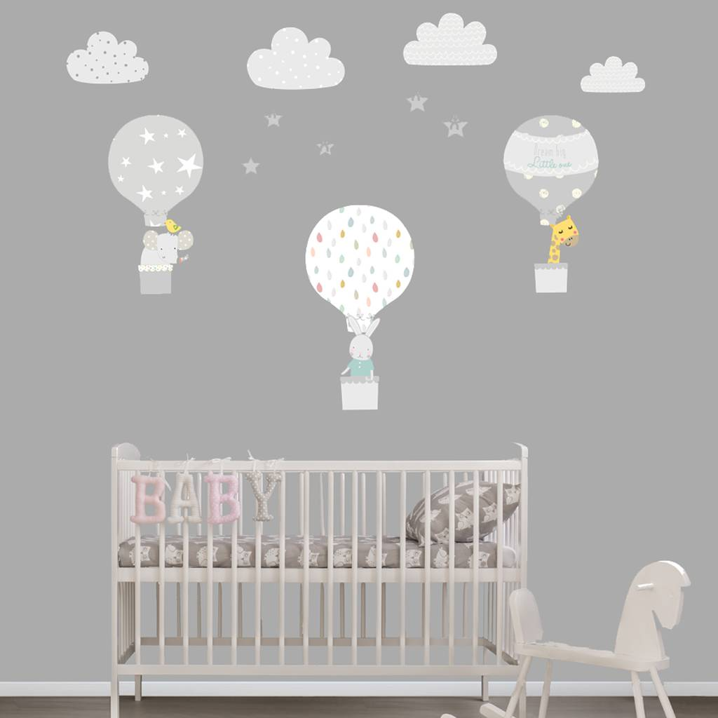 3d Wallpaper For Bedroom Walls Grey Hot Air Balloon Fabric Wall Stickers By Littleprints