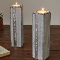 two personalised wooden tealight candle holders by warner