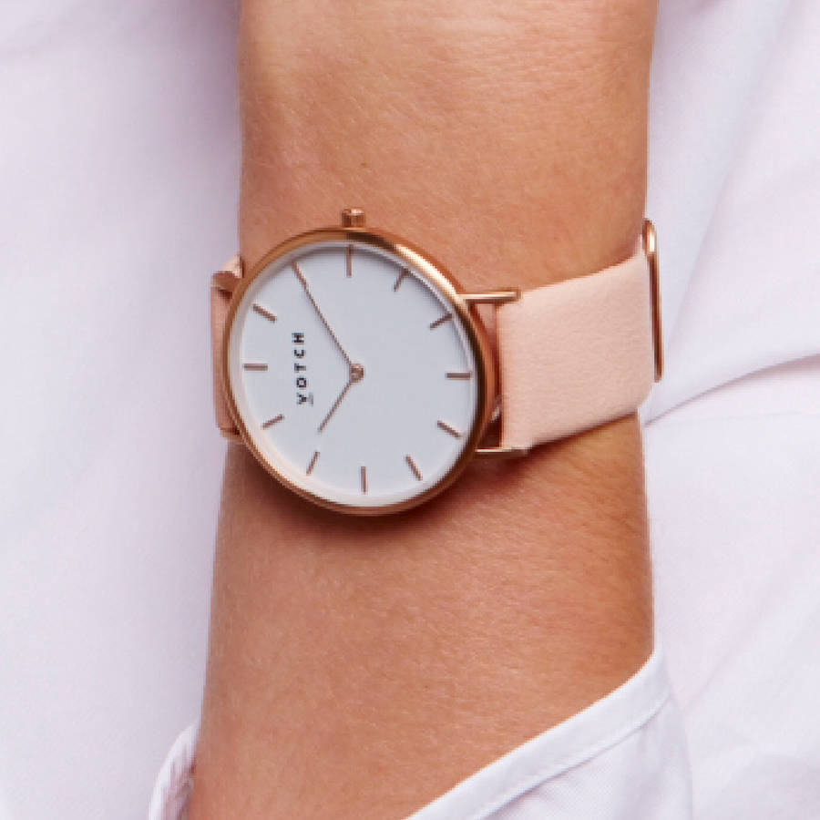 Leather Strap Rose Gold Watch Classic Rose Gold Vegan Leather Watch