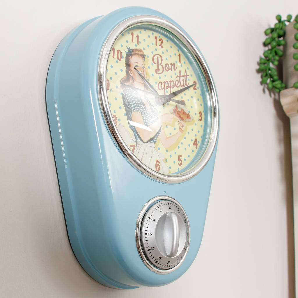 Blue Kitchen Clock Retro Diner Blue Kitchen Wall Clock With Timer By Dibor