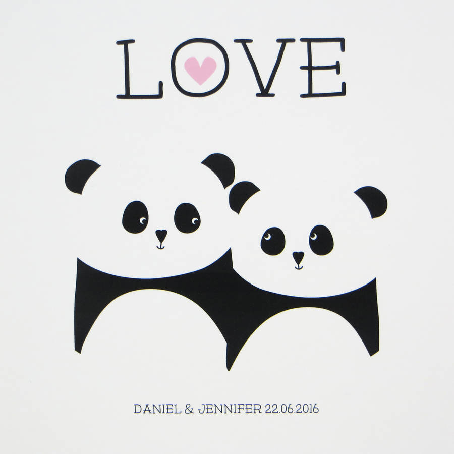 Wallpaper Cartoon Cute Couple Panda Love Print Wedding Anniversary Gift By Wink Design