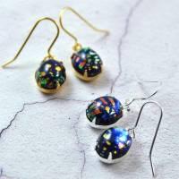 black fire opal earrings in gold or silver by penny ...