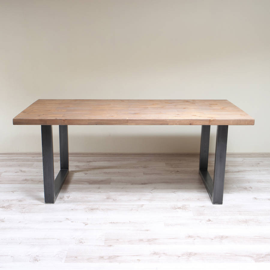 u shaped legs industrial style dining table by cosywood