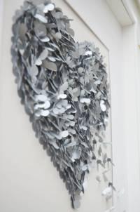 silver wedding anniversary butterfly heart wall art by