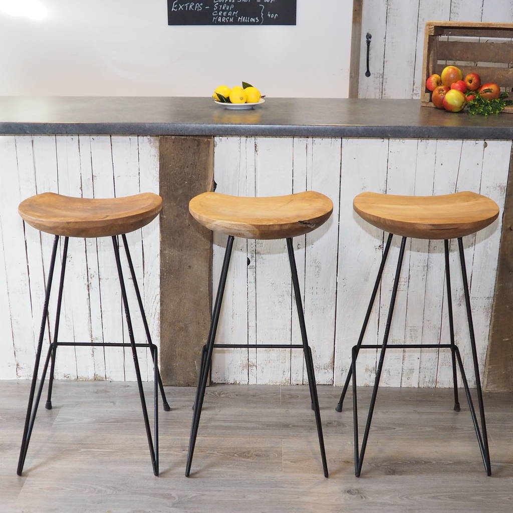 Wood And Metal Bar Stools Industrial Wood Bar Stool By Za Za Homes