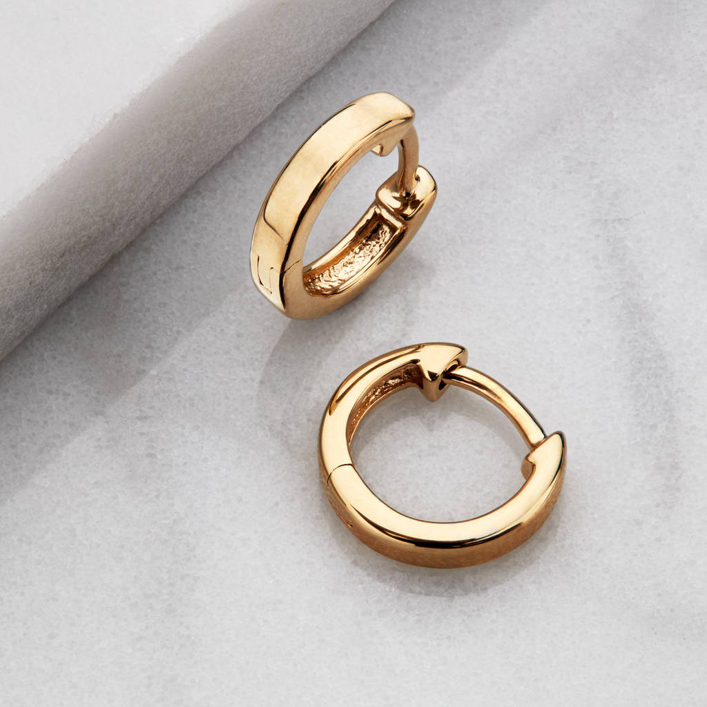 gold or silver small plain huggie hoop earrings by lily