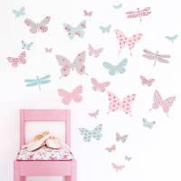 children's butterfly fabric wall stickers by koko kids ...