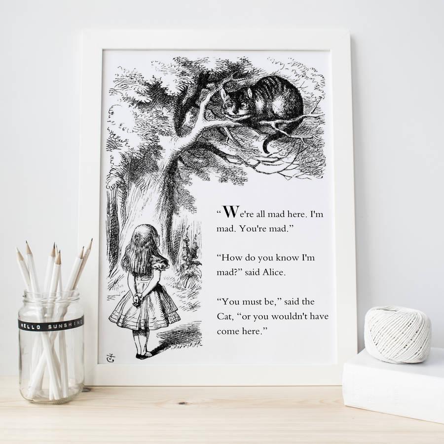 Cheshire Cat Quote Wallpaper Alice In Wonderland Print By Literary Emporium