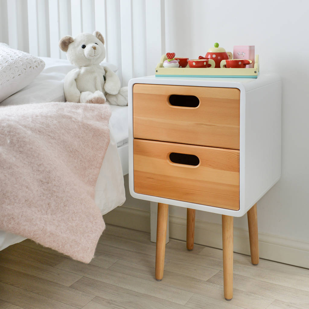Toddler Bedside Table Children 39s Solid Wood Bedside Table With White Finish By