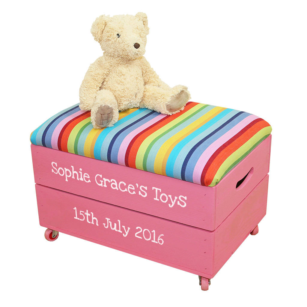 Toy Box Toys Personalised Wooden Toy Box With Padded Lid