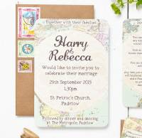travel inspired map wedding invitation set by peardrop ...
