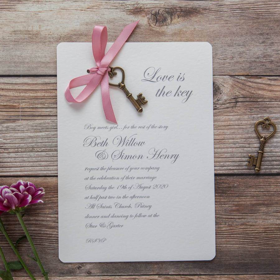 Diy Wedding Invitations With Photo Love Is The Key Diy Wedding Invitation Pack