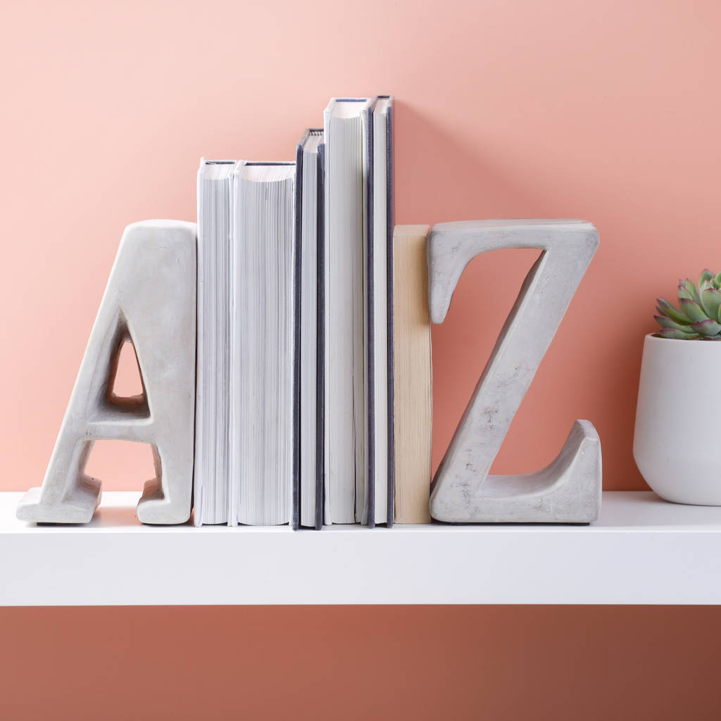Bookends Book A Z Heavy Concrete Book Ends By Letteroom