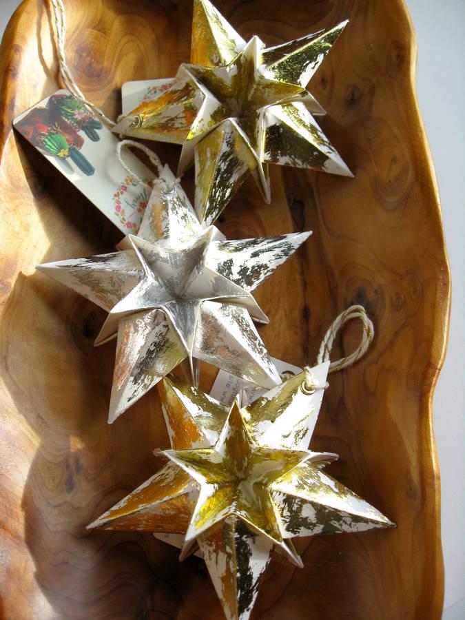 origami metallic silver christmas star decorations by joyful array - christmas star decorations