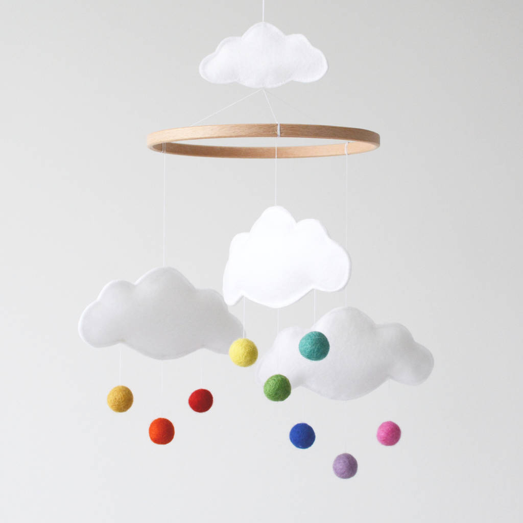 White Cloud And Rainbow Baby Mobile By Littlenestbox