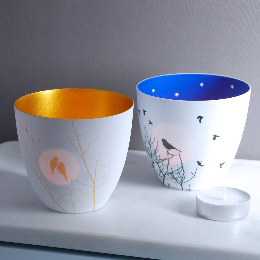 Porcelain Bird Tea Light Holder By Penelopetom