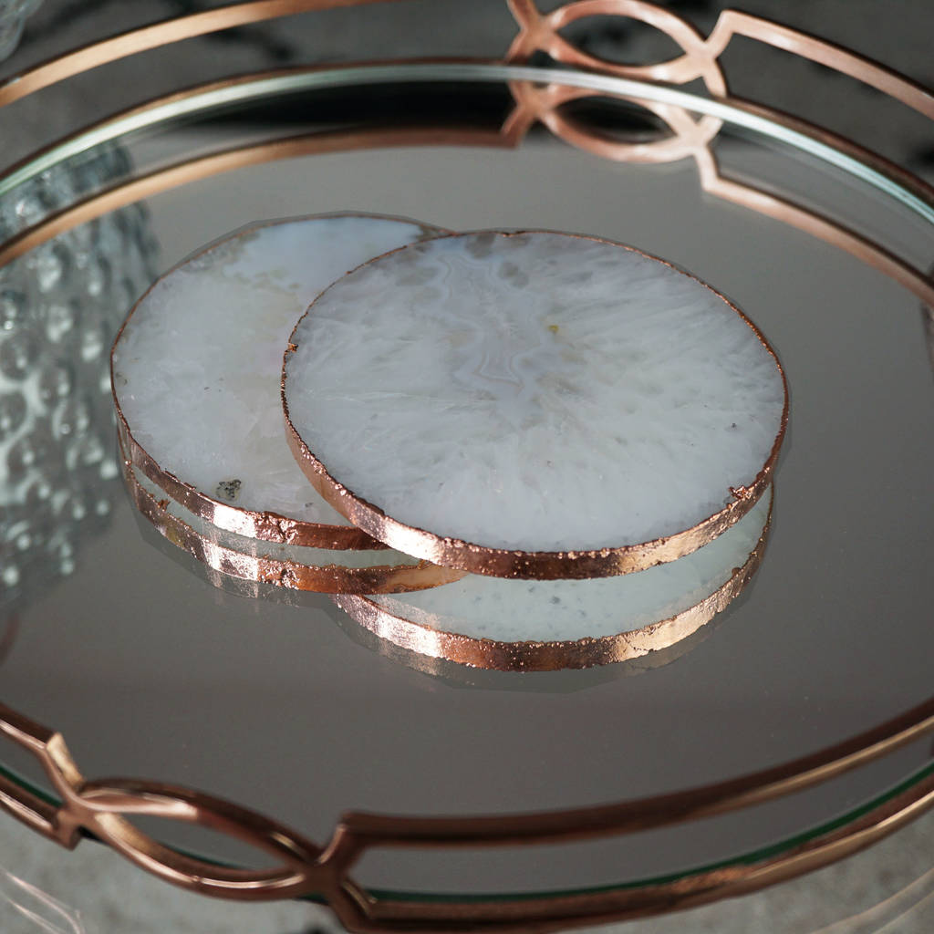 White And Gold Coasters White Agate Crystal Coasters Rose Gold Gilded Edge By