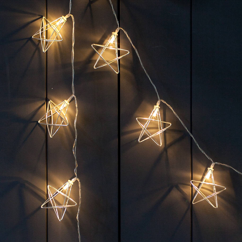 Indoor Fairy Lights 20 Silver Geometric Star Fairy Lights By Lights4fun