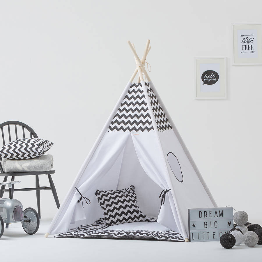 Teepee Kids Monochrome Kids Teepee Tent Set With Window