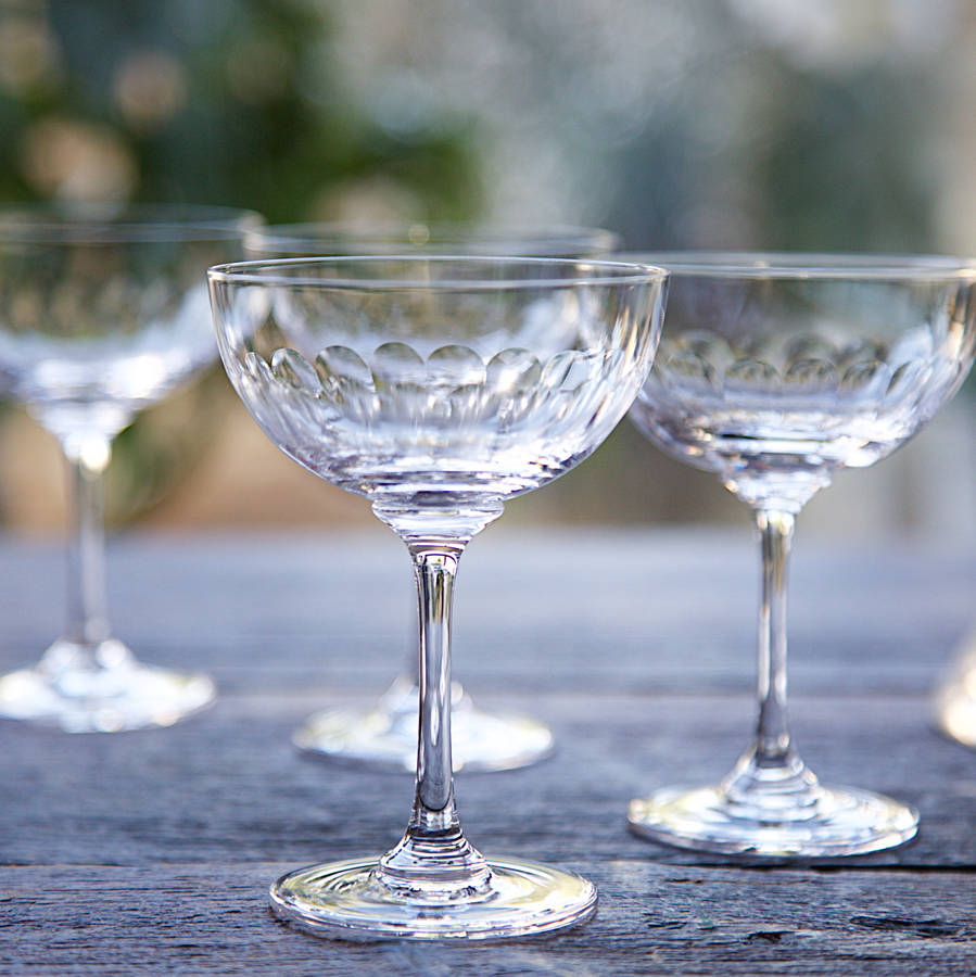 Champagne Coupe Set Of Six Cut Glass Champagne Coupe Saucers