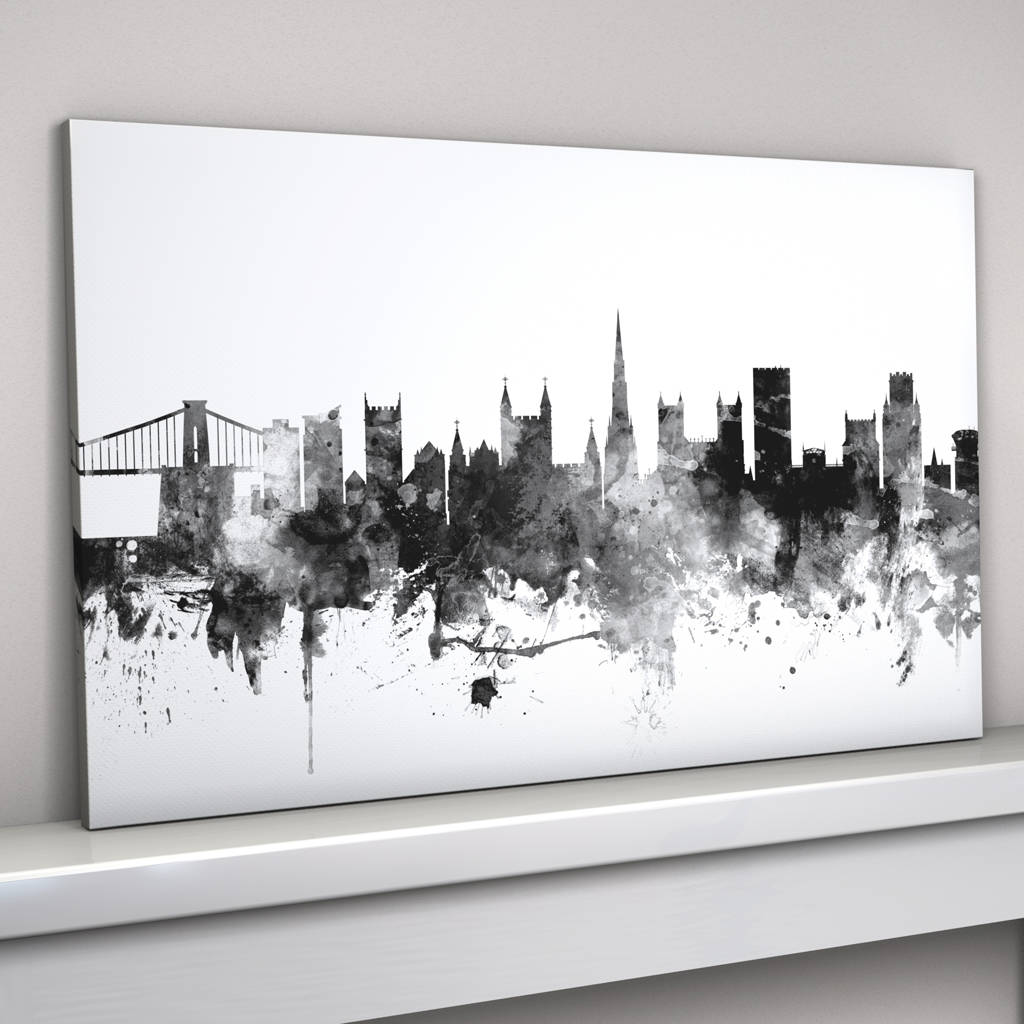 Black And White Canvas Pictures Bristol England Skyline Cityscape Black White