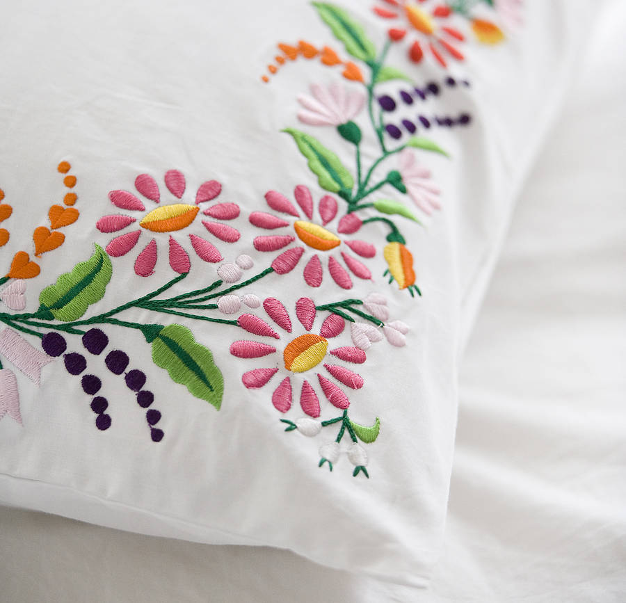 Set Of Two Floral Embroidered Pillowcases By Lulu And Nat