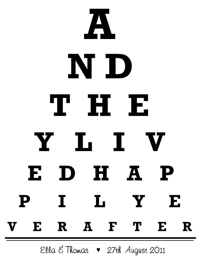 personalised wedding eye chart print by little van goghs - eye chart template