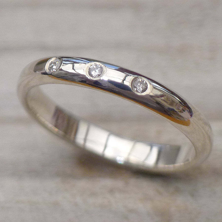 triple diamond sterling silver band ring handmade wedding rings Three Diamond Silver Wedding Ring