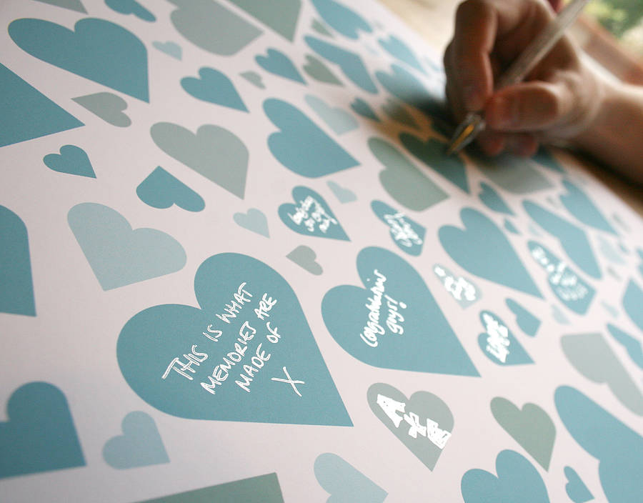 Duck Egg Blue Personalised Wedding Hearts Signature Print By Modo