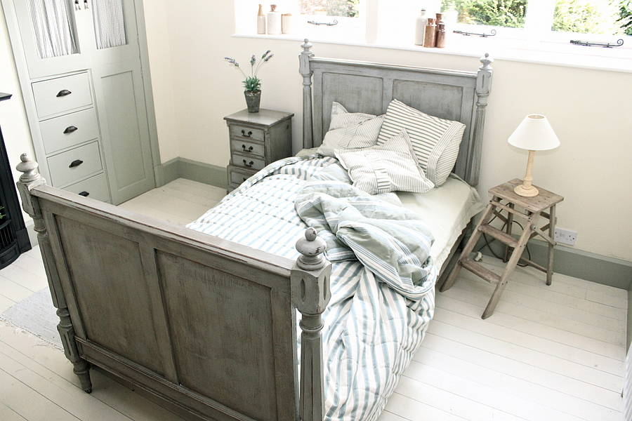 French Style Pitch Pine Three Quarter Bed By Distressed