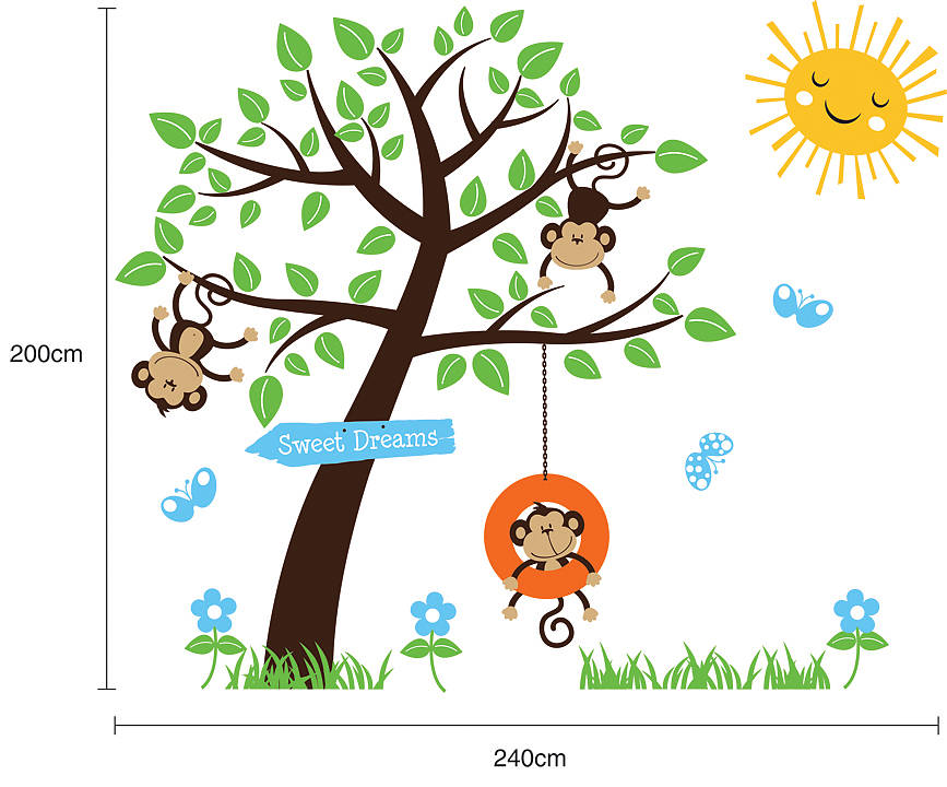 Children39s Monkey Tree Wall Stickers By Parkins Interiors
