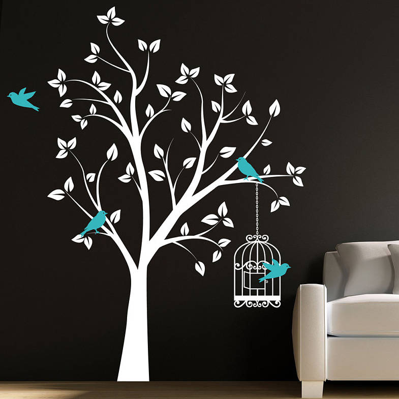 Baby Girl Nursery Wallpaper Borders Tree With Bird Cage Wall Stickers By Parkins Interiors