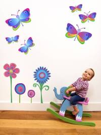 flowers and butterfly wall stickers by chickp ...