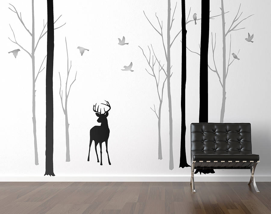 Eames Daw Chair Deer In The Forest Black/grey Wall Sticker By Zazous