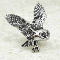 barn owl tie pin antiqued pewter by wild life designs ...