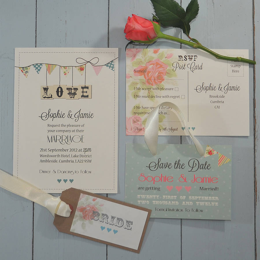 not on the high street bunting wedding invitations wedding stationery Papergrace Country Bunting Wedding Invitation Made By
