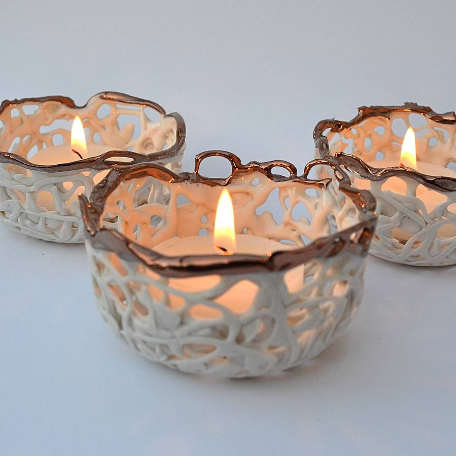 Copper And Porcelain Tea Light Holder By Carys Boyle