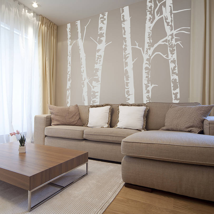 3d Silk Effect Wallpaper Silver Birch Trees Vinyl Wall Sticker By Oakdene Designs