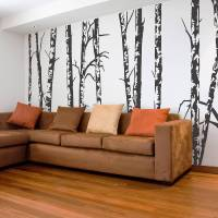silver birch trees vinyl wall sticker by oakdene designs