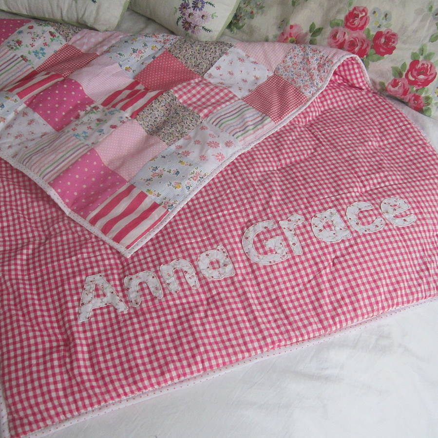 Patchwork Set Baby Patchwork Quilt Personalised Girls And Boys