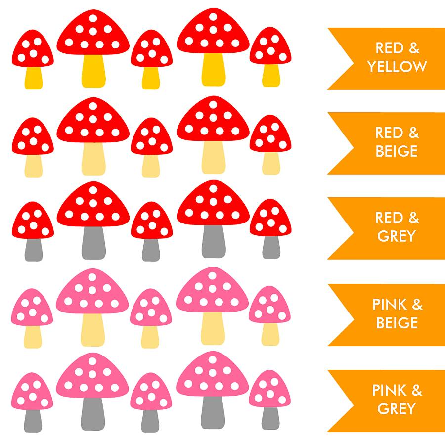 set of five toadstool wall stickers by little chip