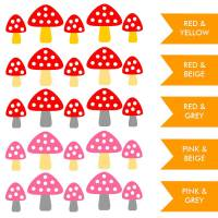 set of five toadstool wall stickers by little chip ...