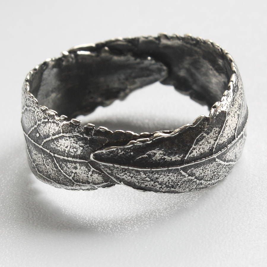 unisex silver leaf ring unisex wedding bands Handmade Woodland Unisex Silver Leaf Ring