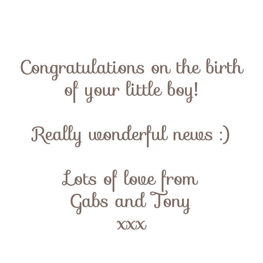 Classy Inside Personalised New Baby Boy Card By Inkpaintpaper Baby Card Message Printed Personalised Message Coworker Baby Card Messages Congratulations baby shower Baby Card Messages