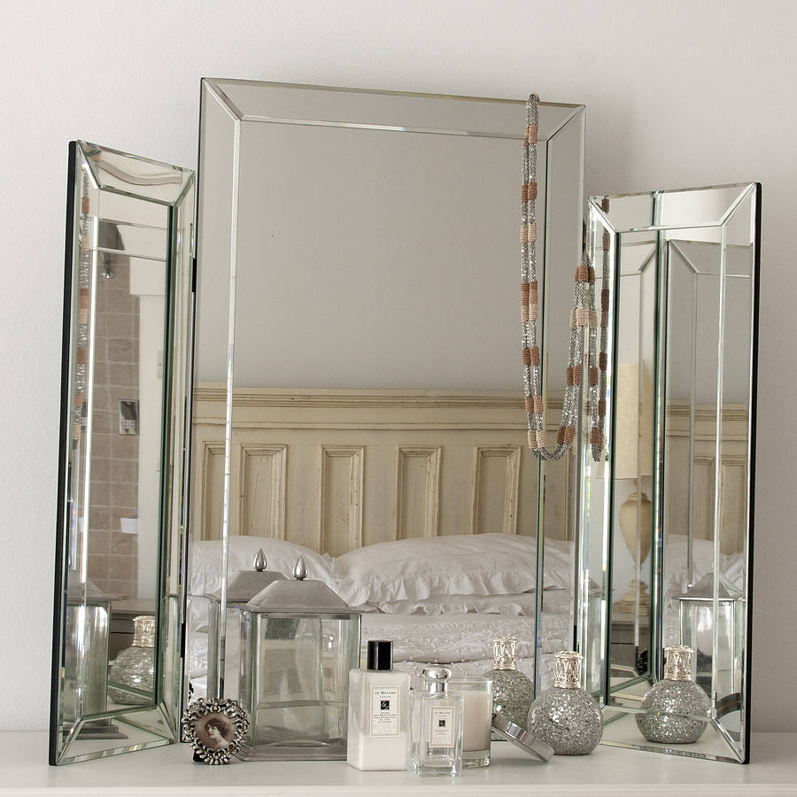 Decorative Mirror Table Large Bevelled Dressing Table Triple Mirror
