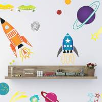 coloured spaceships wall sticker set by spin collective ...